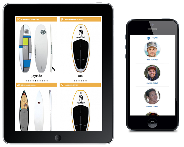 Image of Ipad and Iphone with Sponsor Products and Team