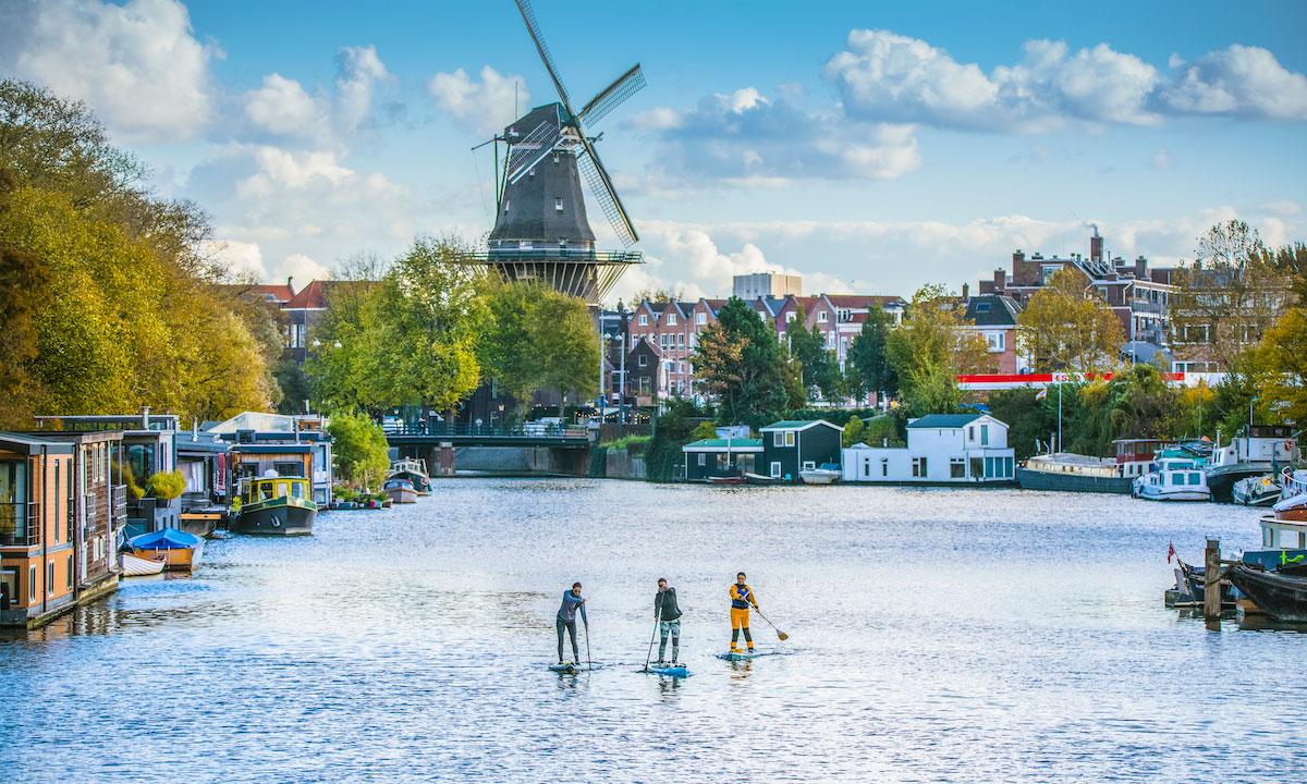 paddleboarding amsterdam windmill