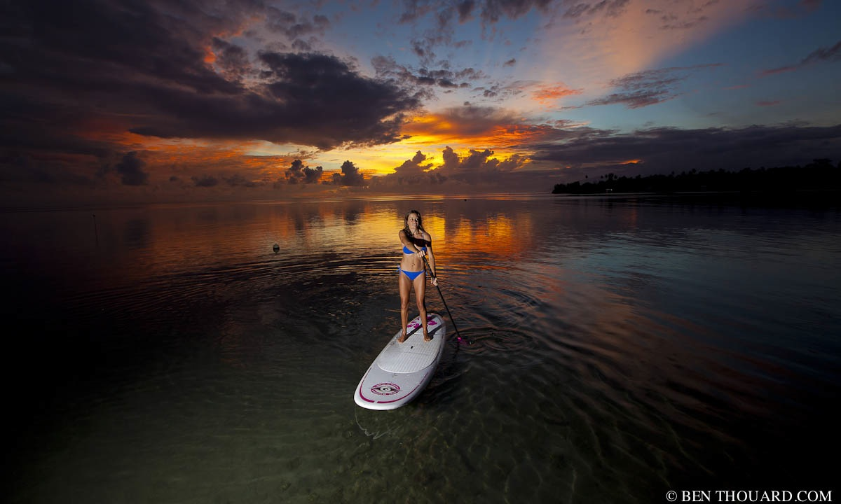 BenThouardSeaCo Carine Camboulives cruising under a beautiful sunset in Tahiti