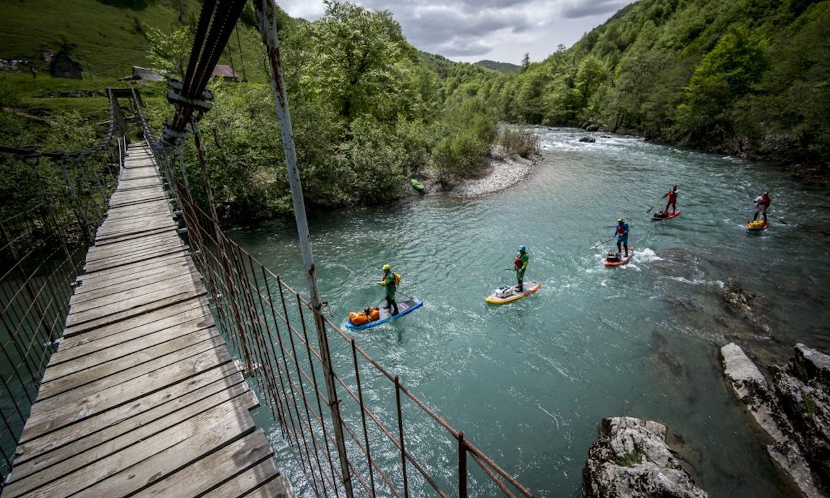 First SUP Descent Of Europe's Deepest Canyon bridge