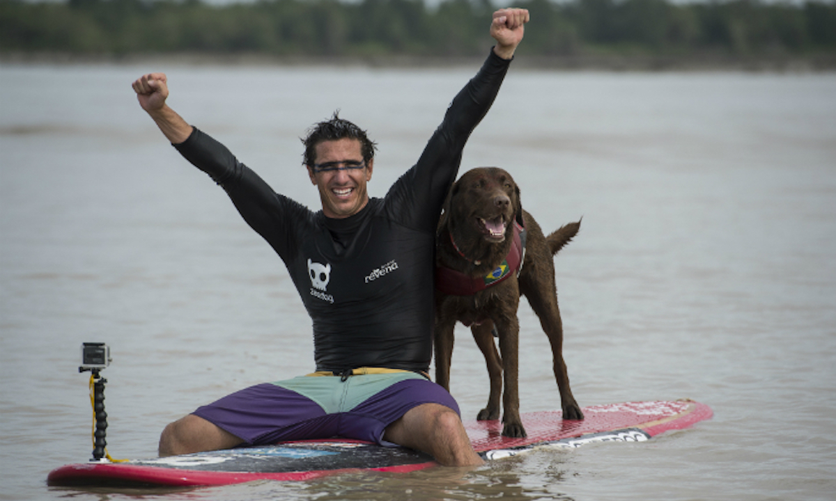 brazilian man and dog set sup world record 4
