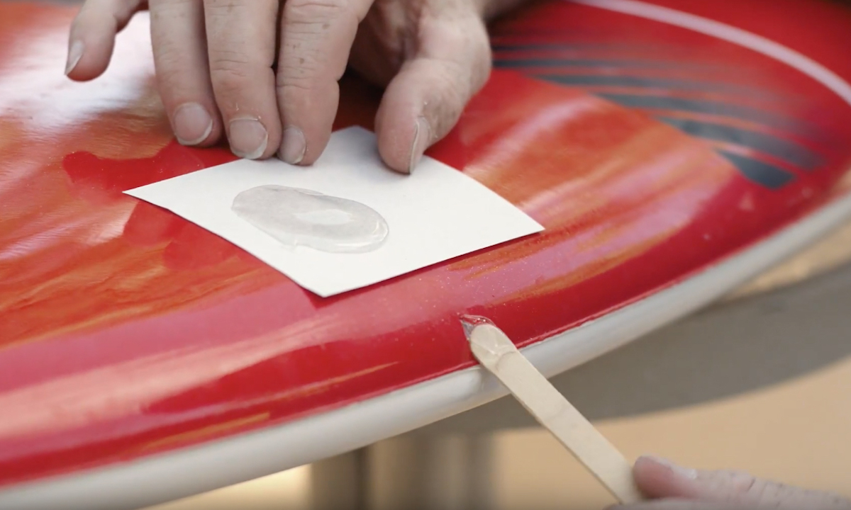how to fix ding on paddle board