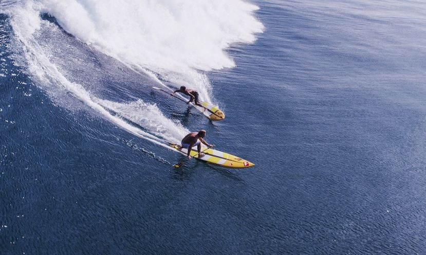 Kai Lenny and Robby Naish share a wave during the filming of 'The Search For Freedom.'