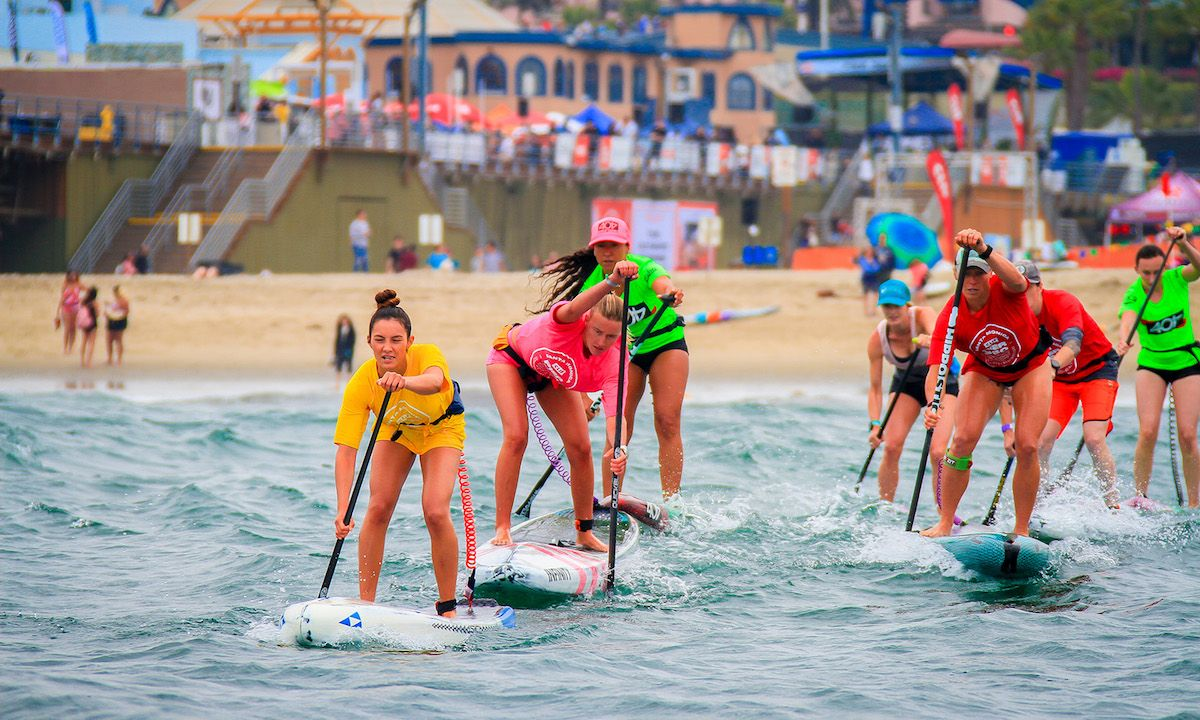 Jade Howson leading the way at the 2018 Pier 360 SUP race in Santa Monica, CA. | Photo Courtesy: Pier 360