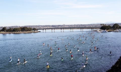 Paddle boarders race on Mission Bay. | Photo: Supconnect