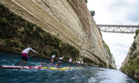 The Corinth Canal SUP Crossing takes you through the Corinth Canal in Greece!