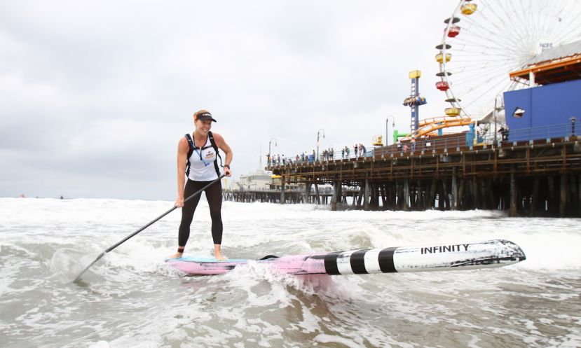 Candice Appleby, winner of the women's SUP race. | Photo Courtesy: Santa Monica Pier Corporation