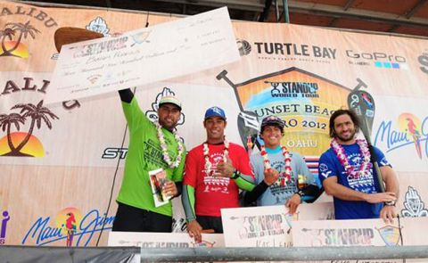 From left: Bonga Perkins 1st, Kay Lenny 2nd, Peyo Lazarus 3rd, Ikaika Kalama 4th.