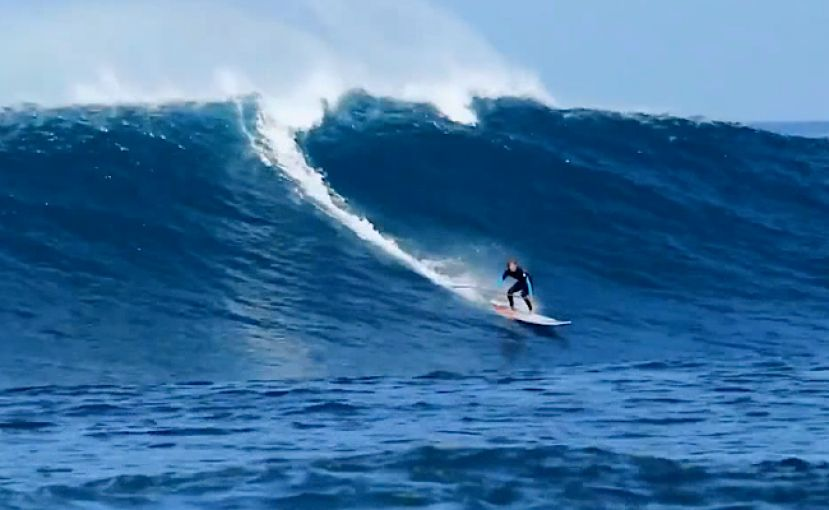 Iballa Moreno Surfing Big Waves