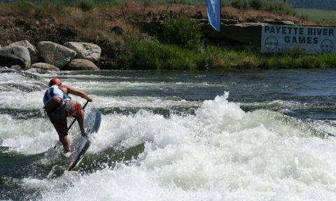 Werner Paddles and Boga athlete, Jeramie Vaine, hits the corner of the hole with some speed.