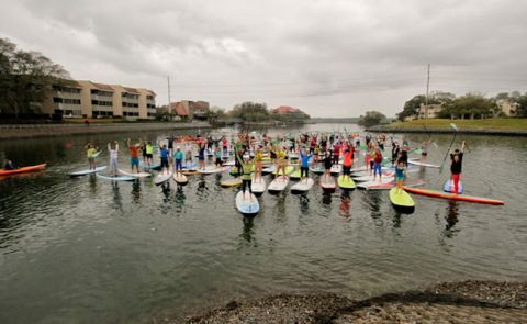 World Record Set For Largest SUP Yoga Class