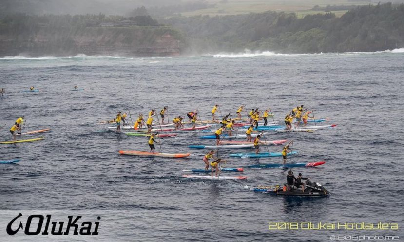 Start of the 2018 Olukai Ho'olaule'a SUP Race. | Photo: Olukai / 808photo.me