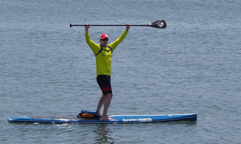 Jon Baker of Egg Harbor Township celebrates after completing the 22.5-mile race around Absecon Island at the Dean Randazzo Cancer Foundation Paddle For A Cause in 2015. | Photo courtesy: Dean Randazzo Cancer Foundation