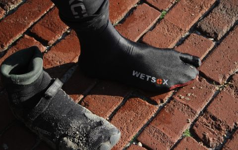 The WETSOX allows you to easily exit and enter your wetsuits! | Photo courtesy: WETSOX