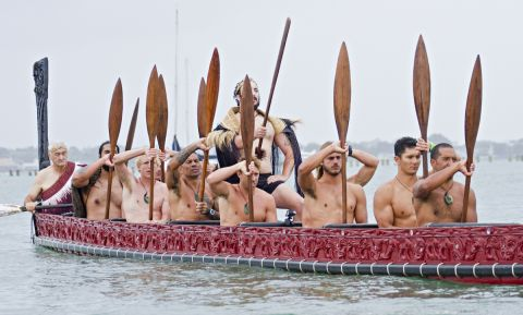 All 8 competitors paddled a traditional Maori war canoe. | Photo Courtesy; The Ultimate Waterman