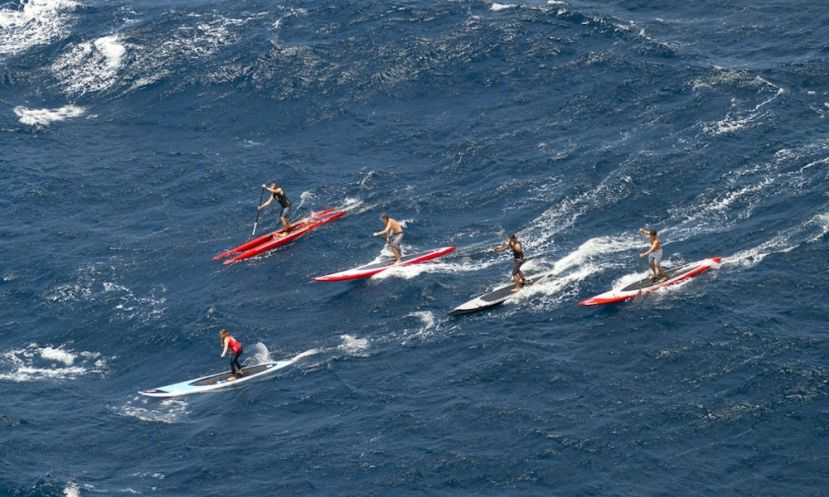 Team SIC Maui, shot from above on the famous Maliko Downwind run in Hawaii.