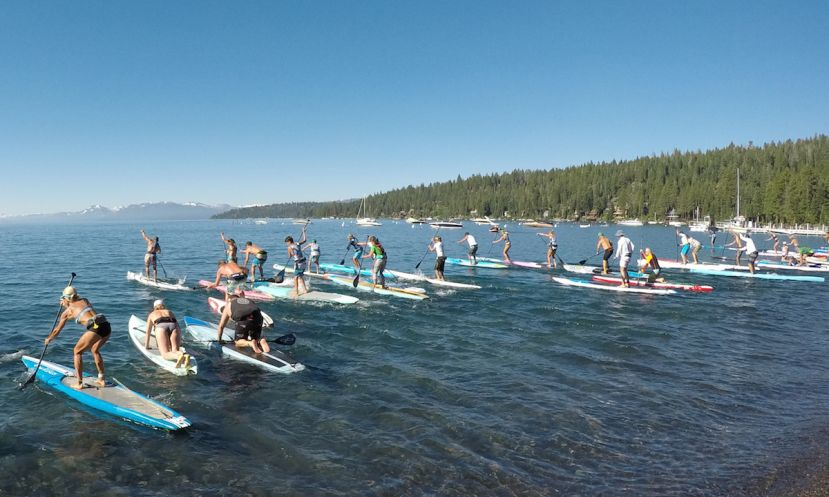 Racers at the start line of the Tahoe Cup race. | Photo courtesy of Tahoe Cup Paddle Race Series