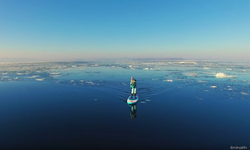 Paddle Boarding On Ice In Russia