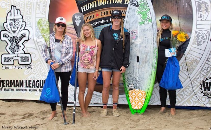 Izzy Gomez, far right, wins the women's Stand UP Paddle World Tour Contest at Huntington Beach, Sept. 2013. Photo by: Harry Wiewel, courtesty of the SUP World Tour