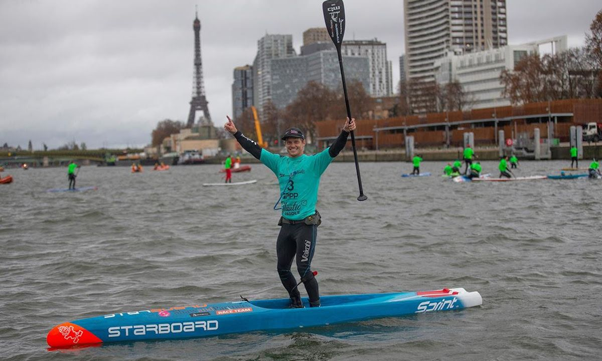 Michael Booth takes the Distance and Overall Event win at the Final stop of the 2019 APP World Tour: the Paris SUP Open. | Photo courtesy: APP World Tour / John Carter