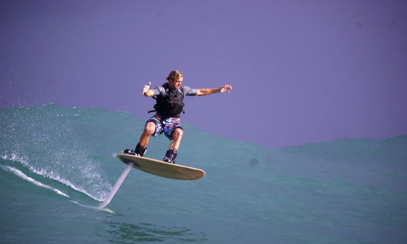 Laird Hamilton, foil boarding. | Photo Courtesy: gabbyandlaird.com