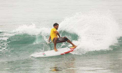 Felipe Rodriguez takes victory in the Trials event after an impressive display of lightning fast surfing in the small surf. | Photo Courtesy: Waterman League