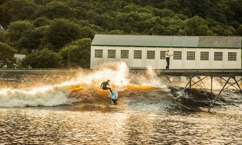 Zane Schweitzer feeling right at home while testing Surf Snowdonia. | Photo Courtesy: Starboard SUP UK