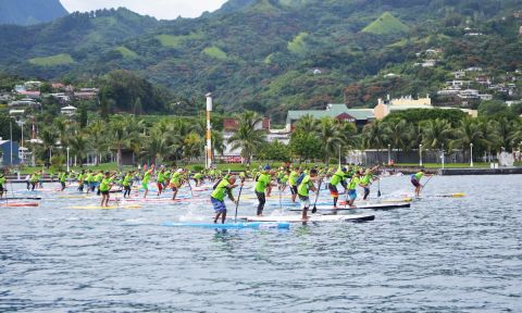 2016 Air France Paddle Festival Lagoon Race start. | Photo Courtesy: Va'a News