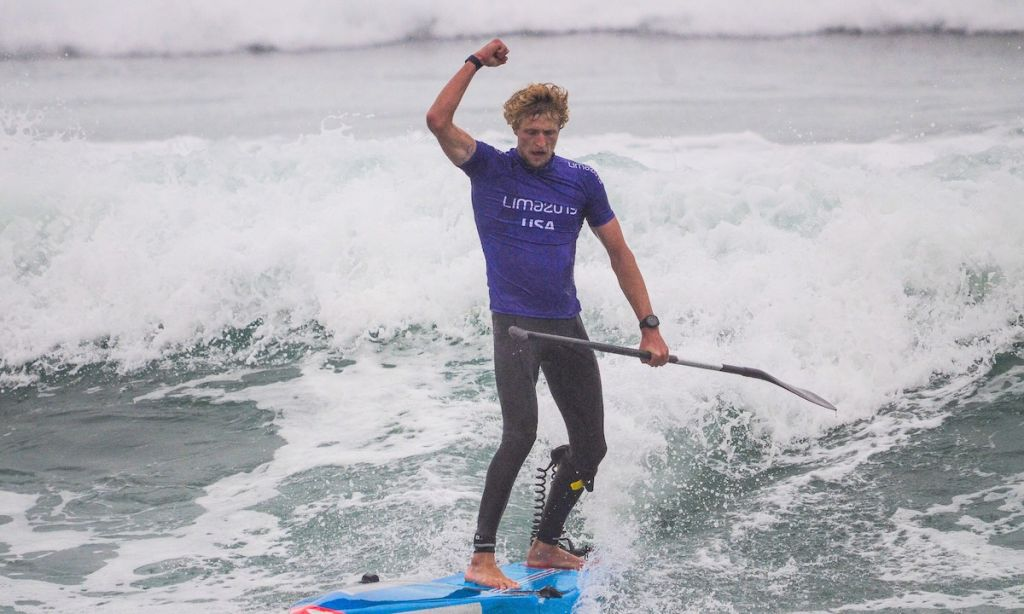 USA's Connor Baxter soaks in the glory of becoming the first Men's SUP Racing Pan American Games Gold Medalist in history. | Photo: Latinwave