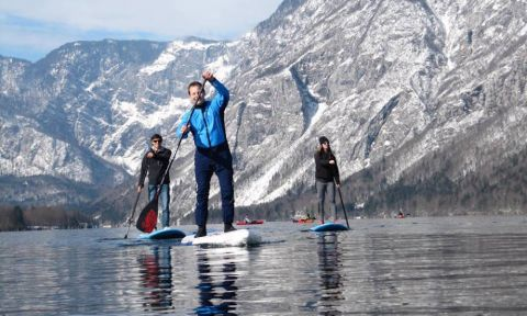 Slovenian paddlers protest new fees being charged to access their local lakes. | Photo: Vanja Matjaž