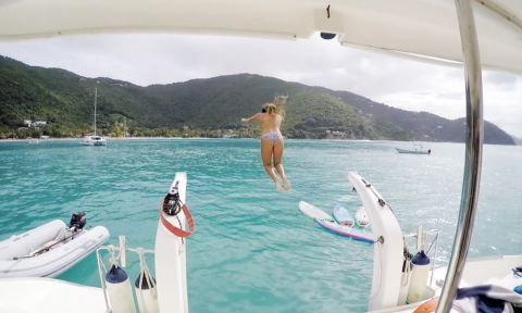 Fiona Wylde having some fun in-between sessions during her trip to the British Virgin Islands.
