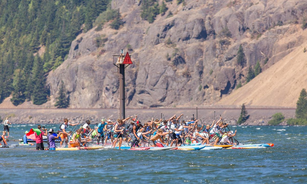 Packed start line at the 2016 Columbia Gorge Paddle Challenge. | Photo: Gorge-Us Photography