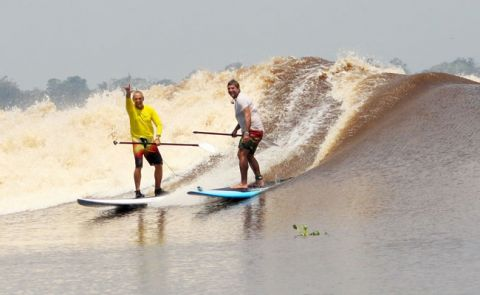 Paddle Boarding Tidal Bore, Sumatra, Indonesia