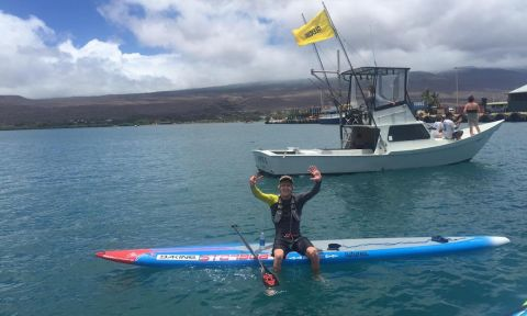 A visibly stoked Connor Baxter after winning his 7th straight Maui-2-Molokai win. | Photo courtesy: Karen Baxter
