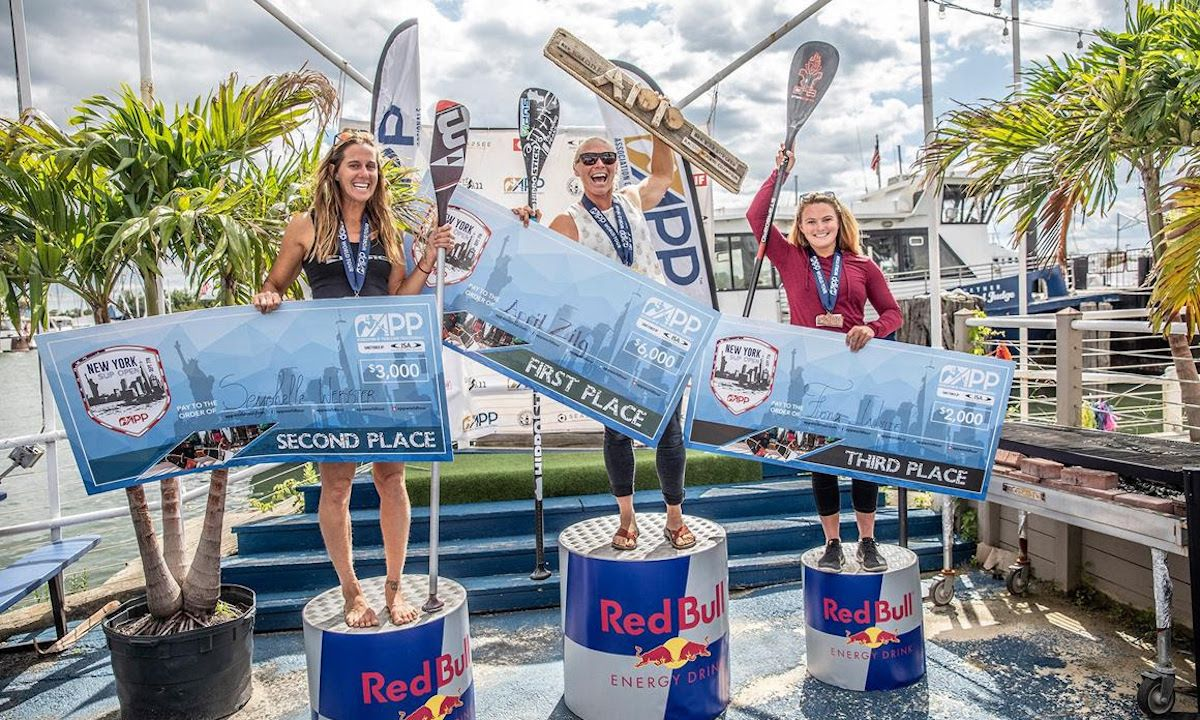 April Zilg takes her first overall win at the 2019 New York SUP Open. | Photo courtesy: APP World Tour