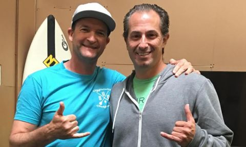 Shain Logeais with Focus SUP Hawaii founder Jacob Benzvi.
