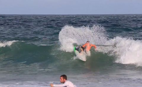 Justin Holland SUP Surfs In Big Sloppy Conditions