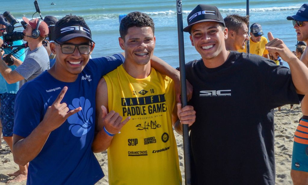 SIC Brazilian athletes Guilherme Cunha (left), Guilherme Dos Reis (middle), and David Leão (right) at PPG 2018. | Photo courtesy: SIC Maui