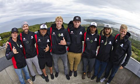 2017 athletes from left to right - Zane Schweitzer (HAW), Coco Nogales (MEX), Manoa Drollet (TAH), Connor Baxter (HAW), Jackson Maynard (AUS), Daniel Kereopa (NZL), Caio Vaz (BRA), Chuck Glynn (USA). | Photo: Cory Scott