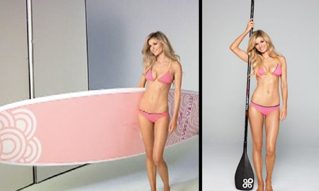 Marrisa Miller with her stand up paddle board at the photo shoot for Shape Magazine in Los Angeles, California.