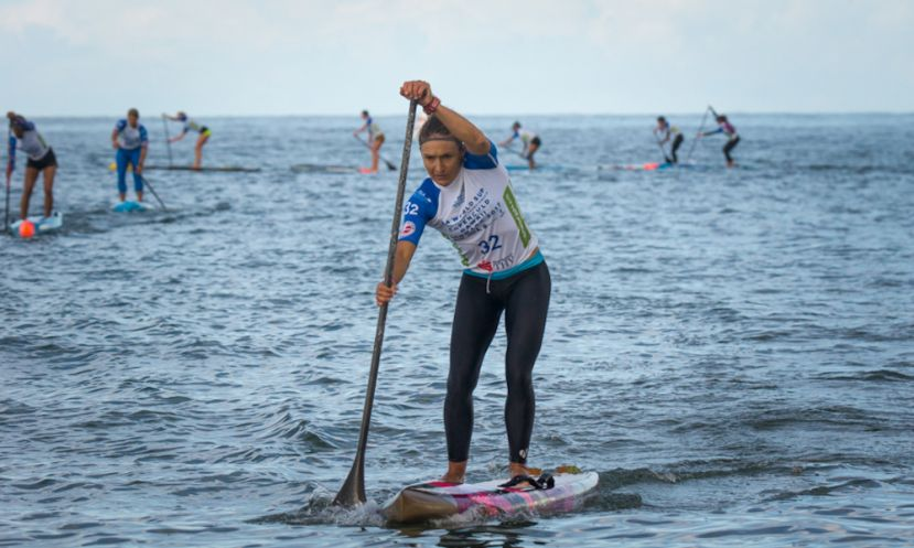 Annabel Anderson on her way to 2 Gold Medals at the 2017 ISA World SUP & Paddleboard Championships. | Photo: ISA / Ben Reed