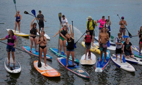 Fiona Wylde having a blast at the Paddle with the Pros event.