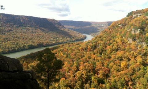 Fall colors in full effect for the Chattajack race in Chattanooga, TN. | Photo via: Chattajack.com