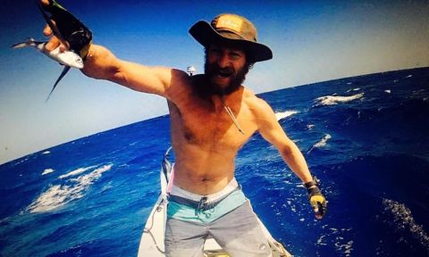 Chris Bertish, happy as can be during his expedition across the Atlantic. | Photo via: Chris Bertish