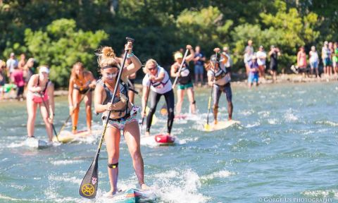 Fiona Wylde leading the charge at the 2017 Columbia Gorge Paddle Challenge. | Photo: Gorge US Photography