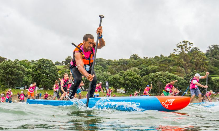 Daniel Kereopa looking fierce during the NZ SUP Nationals. | Photo: Georgia Schofield