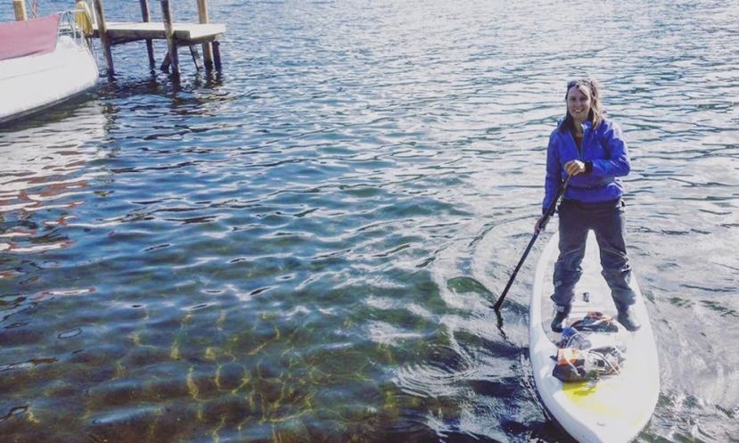 Sian Sykes during her SUP adventure. | Photo via: Sian Sykes