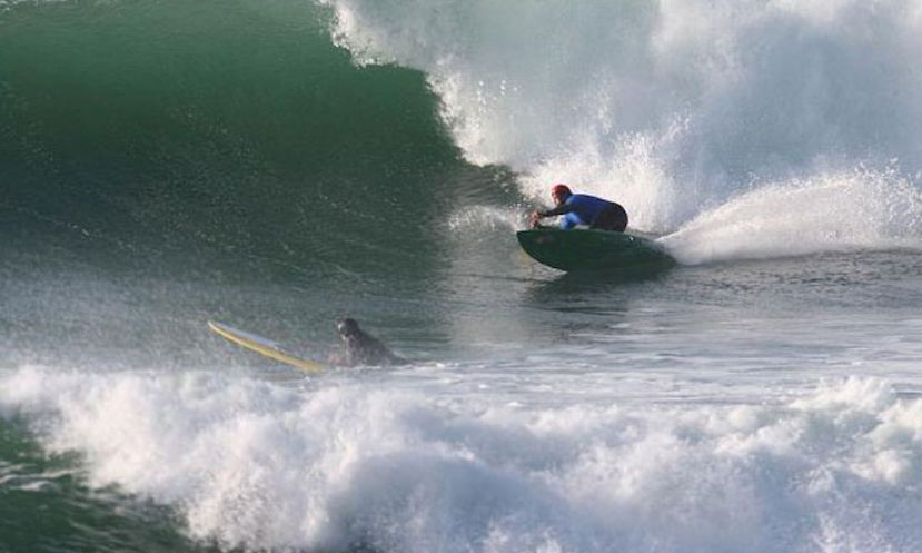 Sup Surfing at Steamer Lane, one of the world's most iconic waves in Santa Cruz, California.