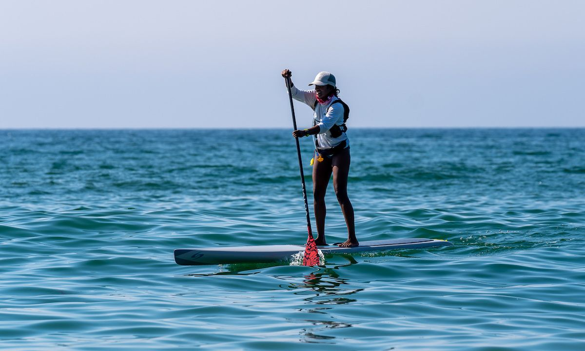 Anupa Asokan paddling the Santa Monica Bay. | Photo: John Suhar