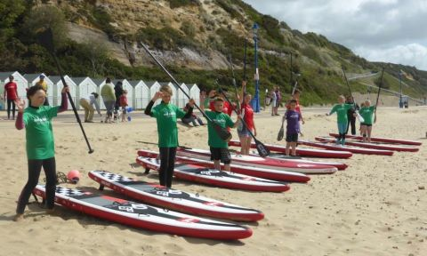 "The U16s went first which was contested on 12'6"" Inflatable race boards."